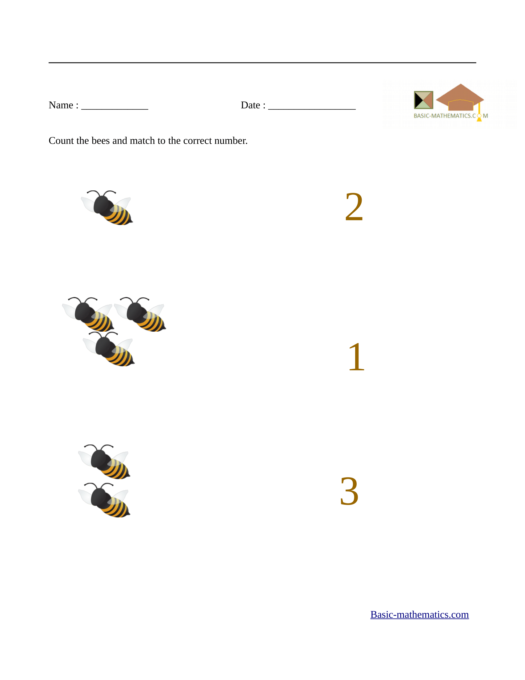 Preschool Math Take Away The Bees Worksheet Education Com