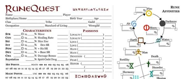 RuneQuest – Roleplaying in Glorantha Updated Character Sheet (pre-release) Featured Image