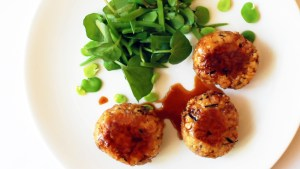 MAPLE TERIYAKI SAUCE coated soy-mince & hijiki balls