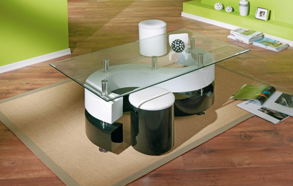 table basse 2 poufs serena