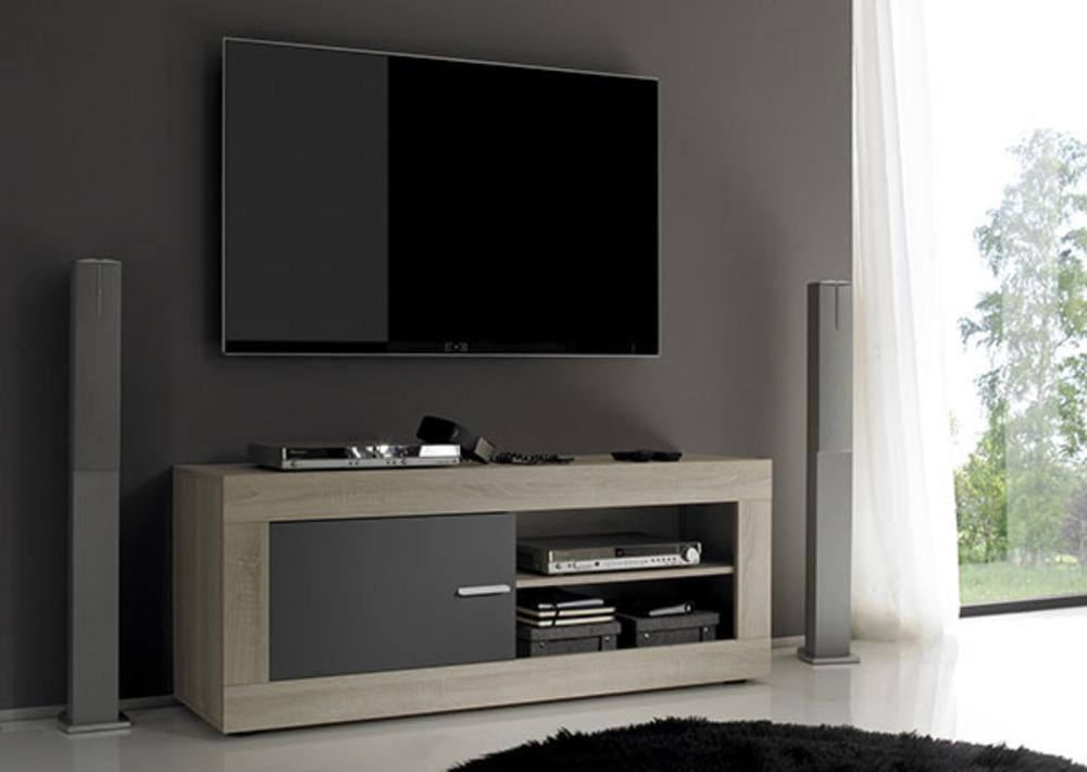 Meuble Tv Aura Chene Samoa Gris Matl 140 X H 56 X P 43