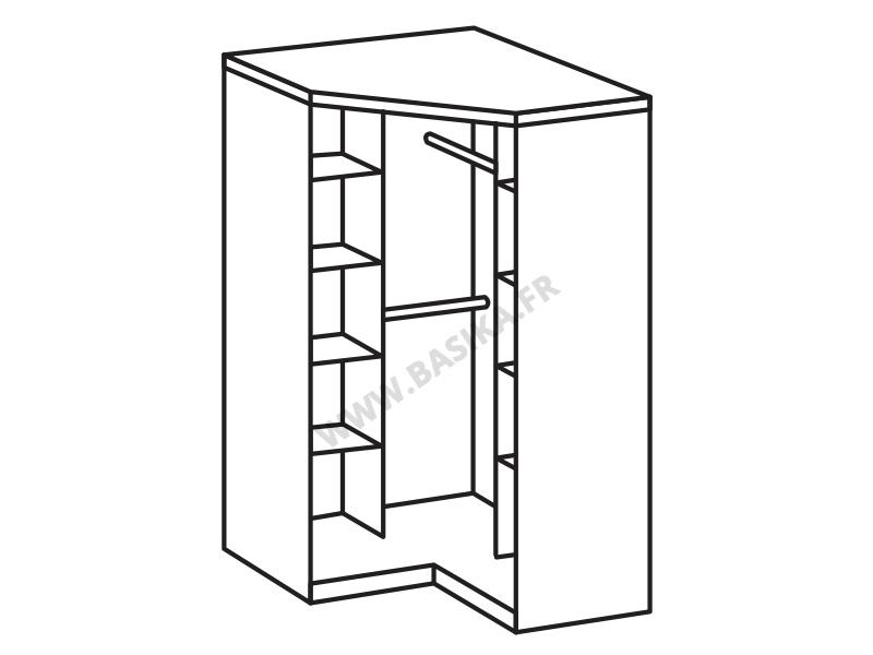 armoire d angle clack blanc noir brillant portes miroirs