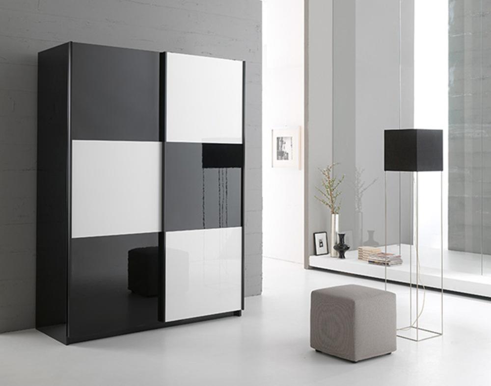 Armoire 2 Portes En 148 Cm Laque Jazzy Structure Noire