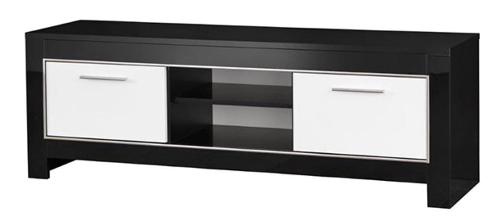 meuble tv modena laquee noire blanc