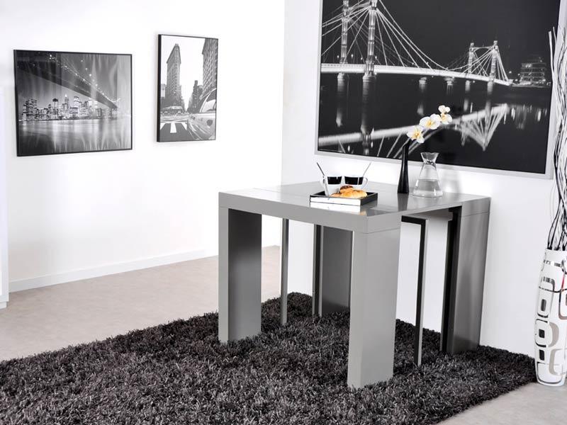 Table Console Extensible Algo Gris Brillant