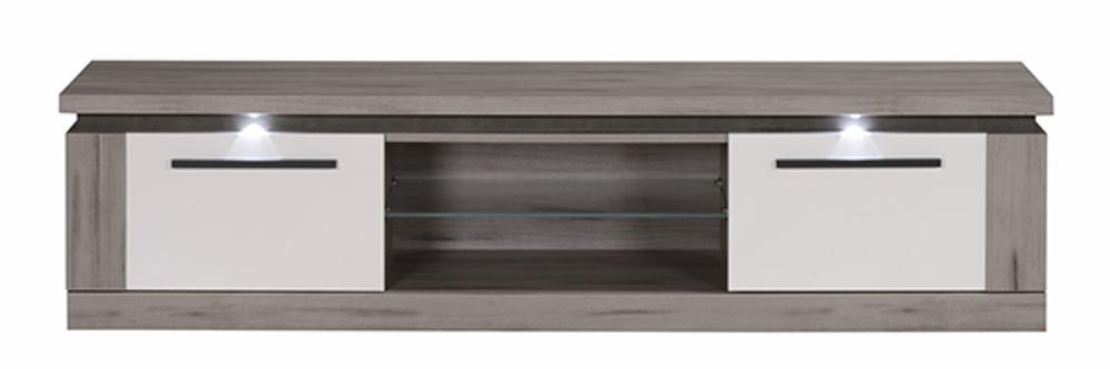 meuble tv oslo chene gris blanc brillant