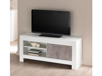 meuble tv pm modena laquee blanc beton