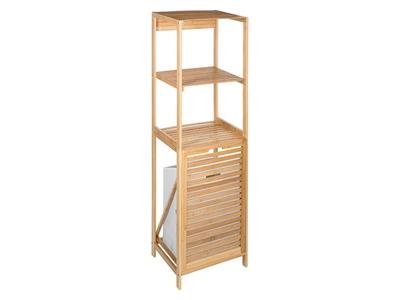 etagere 2 niveaux bambou panier a linge bambou