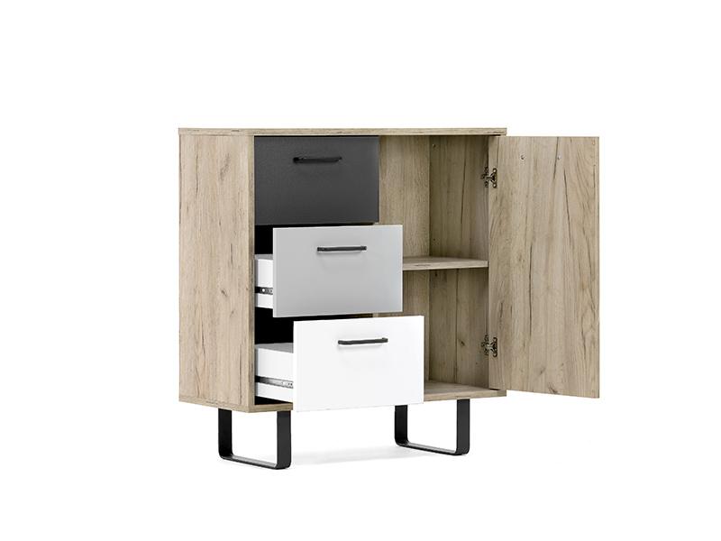 meuble de rangement 1 porte 3 tiroirs orlando