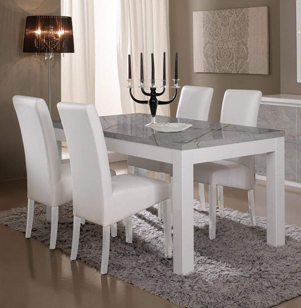 table de repas roma laque blanc marbre gris