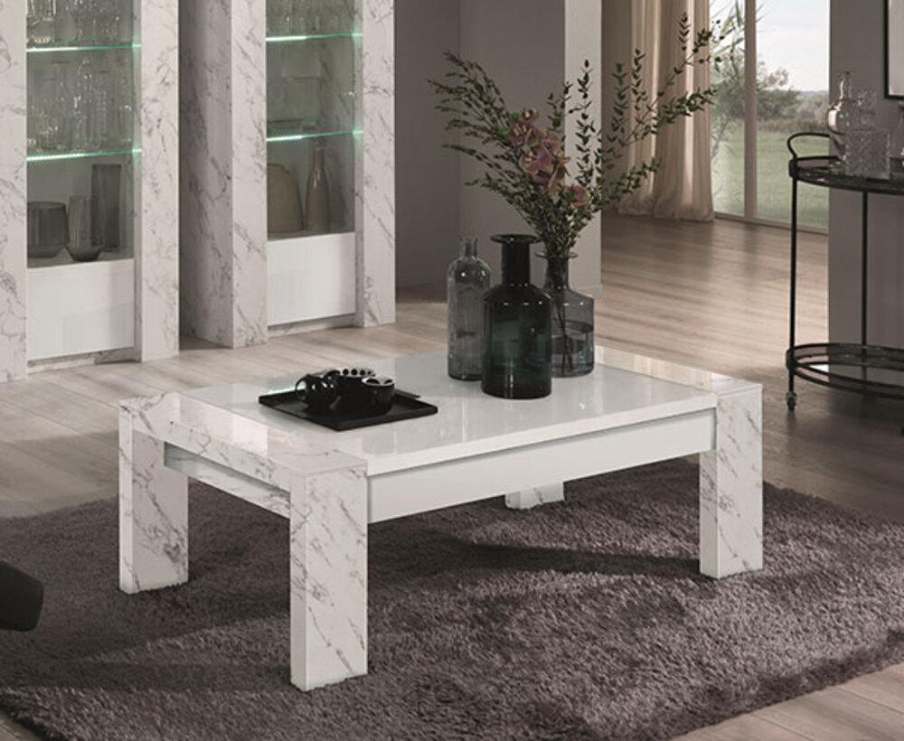 table basse vittoria marbre blanc laque blanc