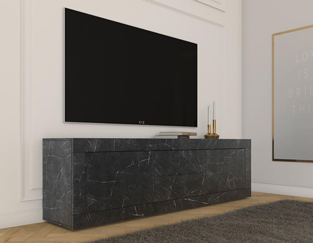 meuble tv 2 portes 2 tiroirs costa noir marbre