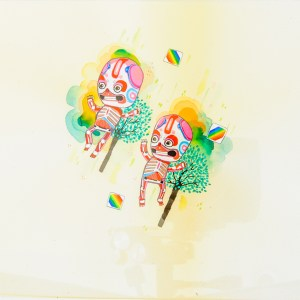 BAS Illustration original art: Cream Skeletons Collection Print 1
