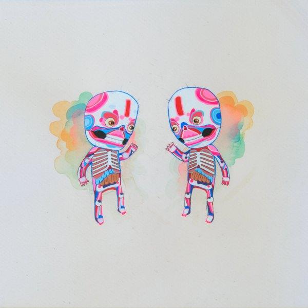 BAS Illustration original art: Cream Skeletons Collection Print 2