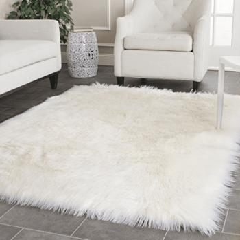 White Faux Fur Rug Amazon Basking in Burgundy