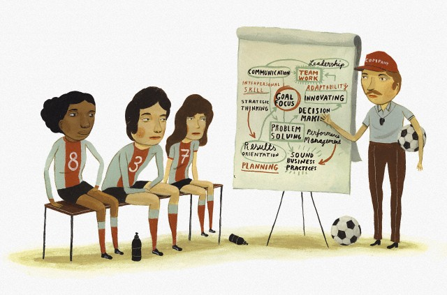 Soccer coach teaching team values --- Image by © Ikon Images/Corbis