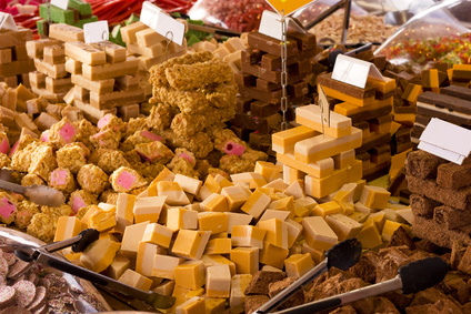 Fudge on display in a candy shop