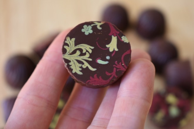 hazelnut gianduja in dark chocolate