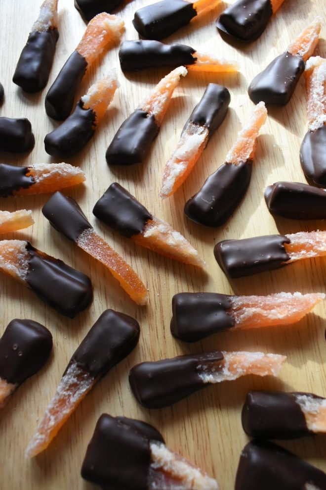 Chocolate Dipped Candied Grapefruit Peel
