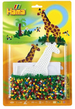 7 Stiftplatten Safari Midi Hama Elefant Giraffe Affe Strauss Lowe