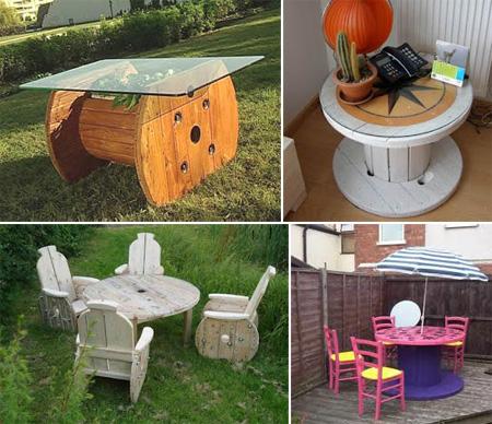 Mesas con bobinas de madera