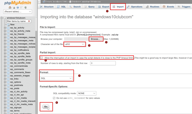 Import database in mysql with phpMyAdmin webGUI