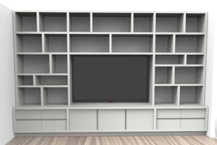 meuble tv bibliotheque sur mesure