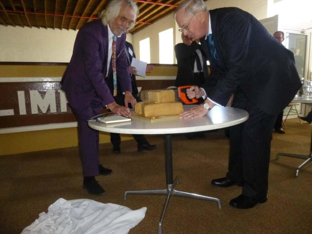 Duke of Gloucester cutting the birthday cake