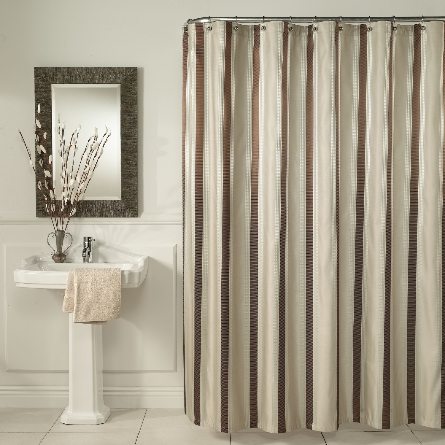 Bed Bath And Beyond Shower Curtains Brown Vertical Striped