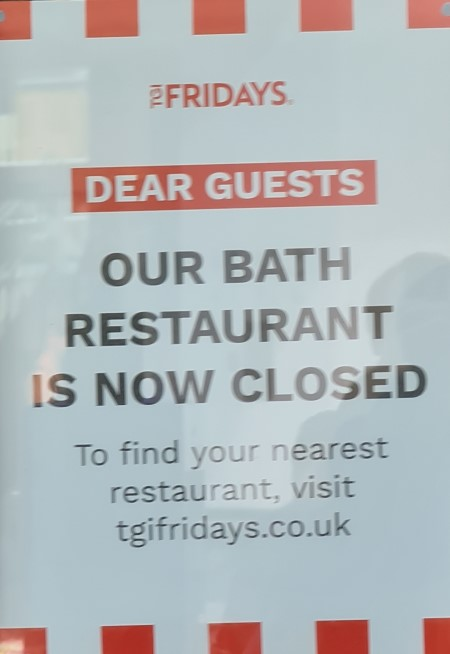 TGI Friday's closed for good sign