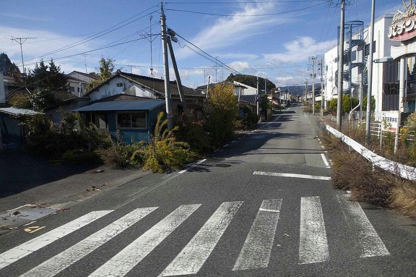 אוקומה פוקושימה  עשביה חודרת לשַׂלְמַת בֶּטוֹן וָמֶלֶט.