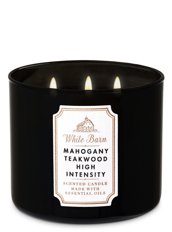 Mahogany Teakwood High Intensity 3-Wick Candle - Bath And Body Works