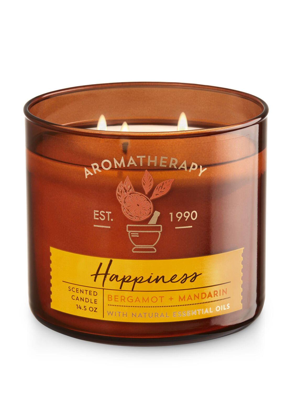 Aromatherapy Happiness - Bergamot & Mandarin 3-Wick Candle - Bath And Body Works