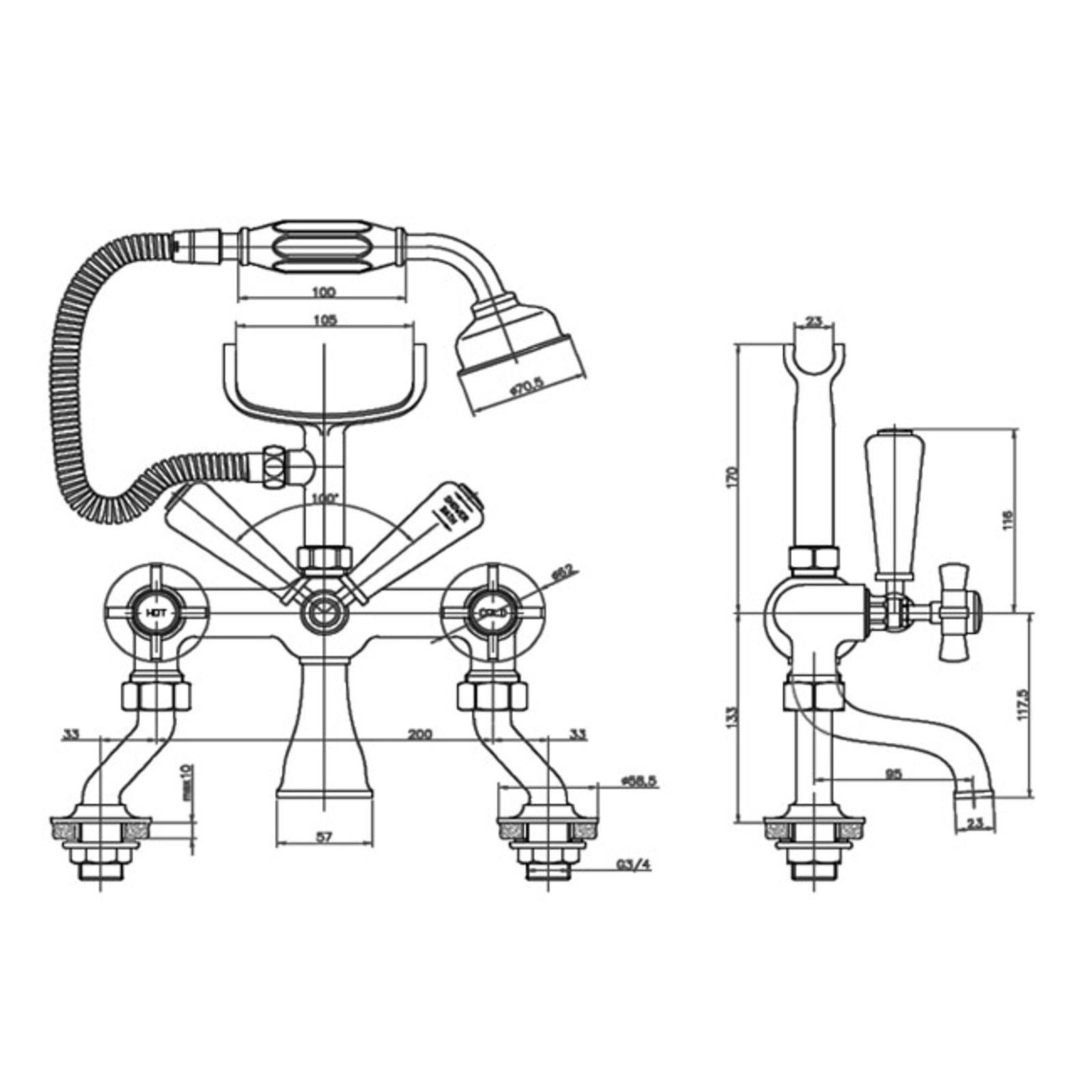 Windsor Bath Shower Mixer Tap Cranked Legs With Rigid Riser Rail Kit