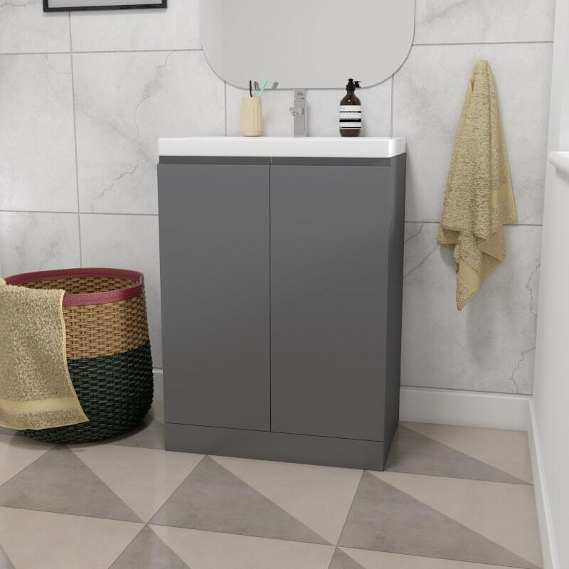 mercury 600mm bathroom vanity unit grey and basin
