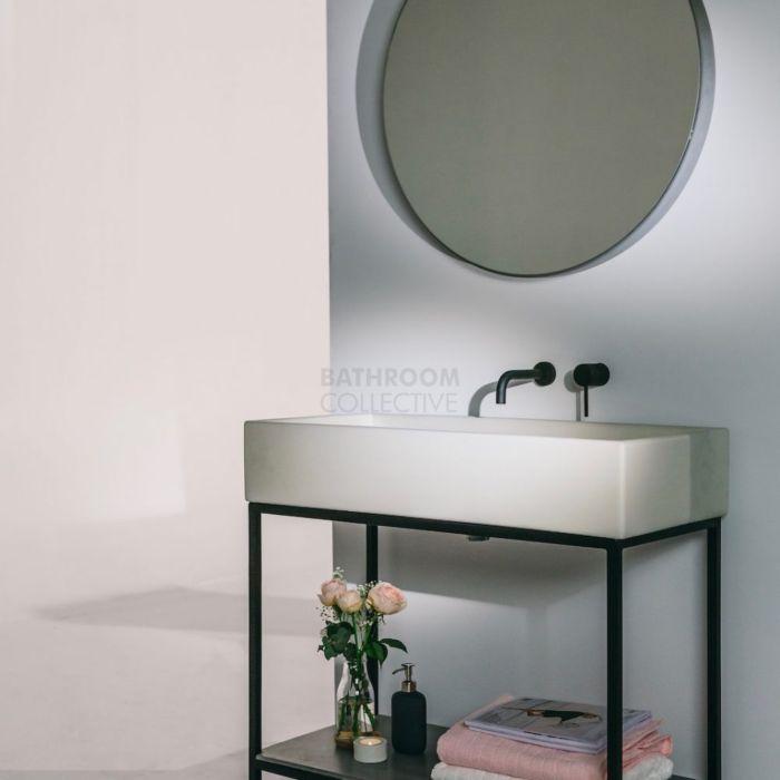 noodco the trough concrete sink vanity set in mid tone grey