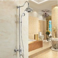 "Rozinsanitary Chrome Polished Bath Shower Faucet Set Mixer Tap 8"" Rain Shower Head + Hand Spray"