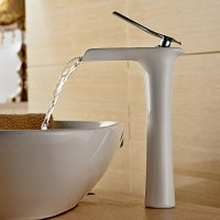 Beelee Modern Single Handle Waterfall Spout Bathroom Sink Faucet, Polished Chrome Finish / White Painting