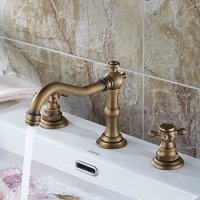 Ollypulse Double Cross Handles High Arc Widespread Bathroom Sink Faucet (Antique Brass)