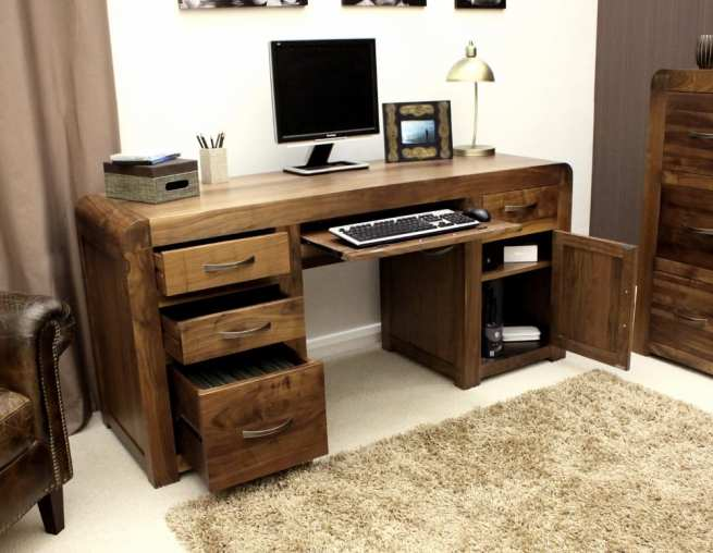 Shiro Walnut Home Office Desk with Style