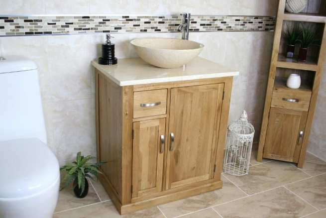 Cream Marble Top & Cream Marble Basin Vanity Unit