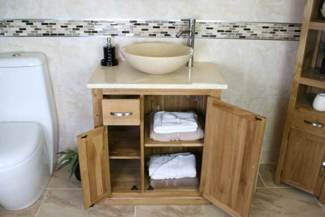 Single Vanity Unit with Cream Marble Top & Cream Marble Basin with Open Doors