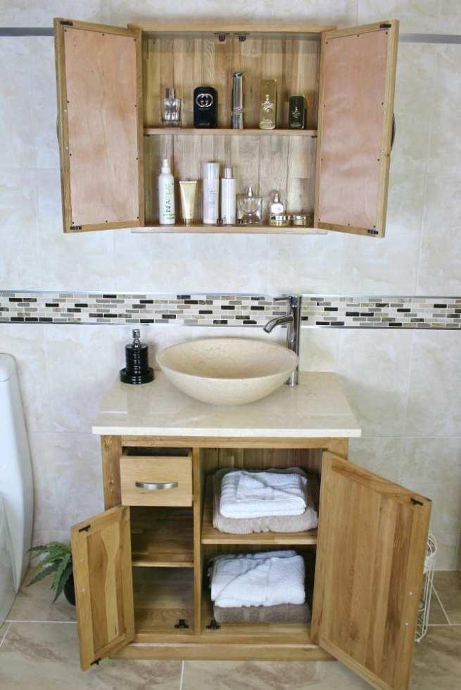Bathroom Vanity Unit with Cream Marble Top & Basin - Open Doors, Showing Storage