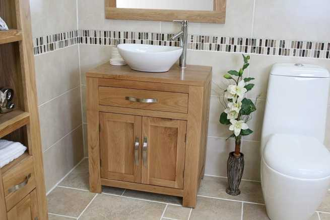 Oval White Ceramic Basin on Solid Oak Vanity Unit Far View