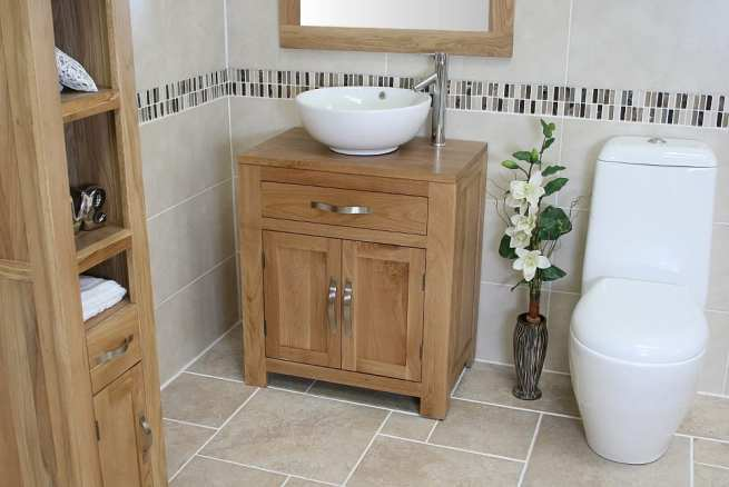 Round Curved White Ceramic Basin on Oak Vanity Unit Far Side View