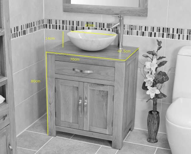 Cream Marble Basin on Single Oak Top Vanity Unit - Dimensions