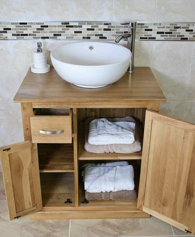 White Ceramic Round Curved Basin & Oak Top Vanity Unit with Lots of Storage