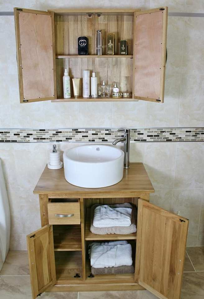 Oak Top Vanity Unit & White Round Ceramic Basin and Oak Bathroom Cabinet Set