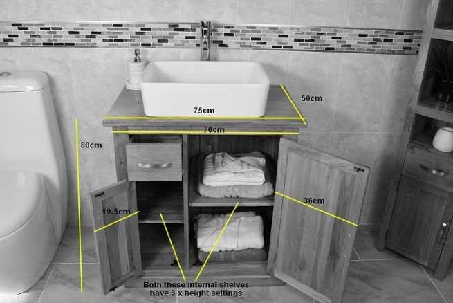 Measurements of Oak Top Vanity Unit with Ceramic Basin
