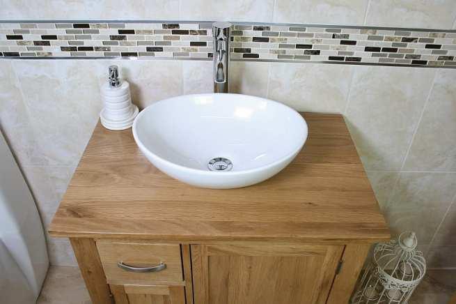 Oval White Ceramic Basin on Oak Top Vanity Unit - Above View